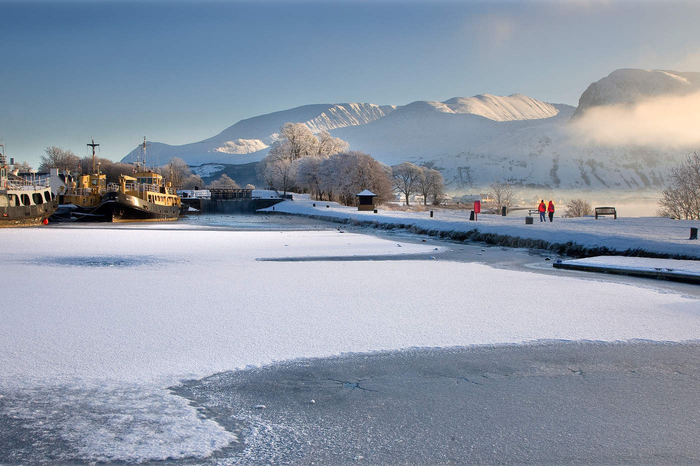 Panoramic winter scene at corpach with the ben nevis