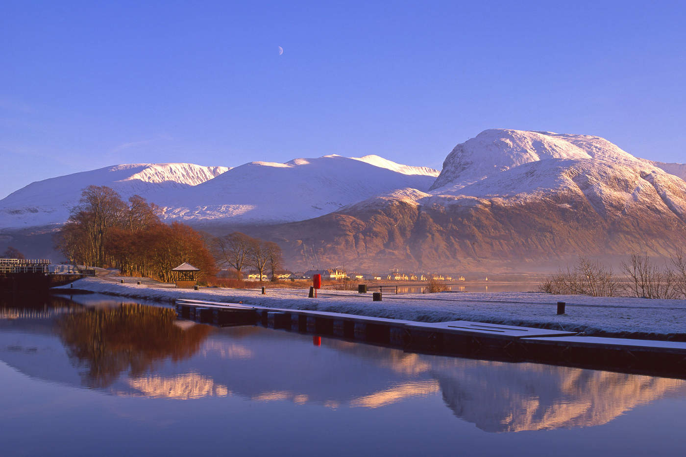 Winter reflections of Ben Nevis as seen from the Corpach Basin, Lochaber