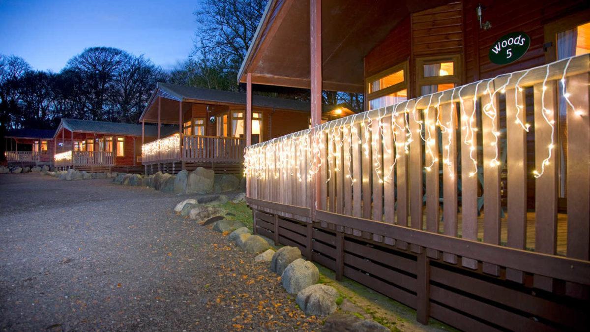 Woods 6 Berth Lodge At Dusk Oban Scotland